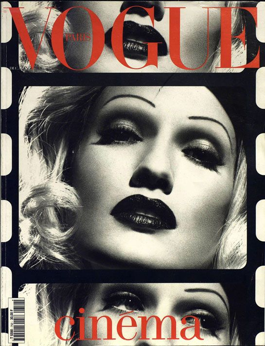 Karen Mulder plays Marlene Dietrich on the December January 1995 cover of Vogue Paris