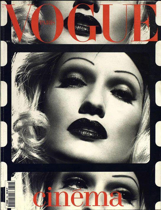 Karen Mulder plays Marlene Dietrich on the December January 1995 cover of Vogue Paris