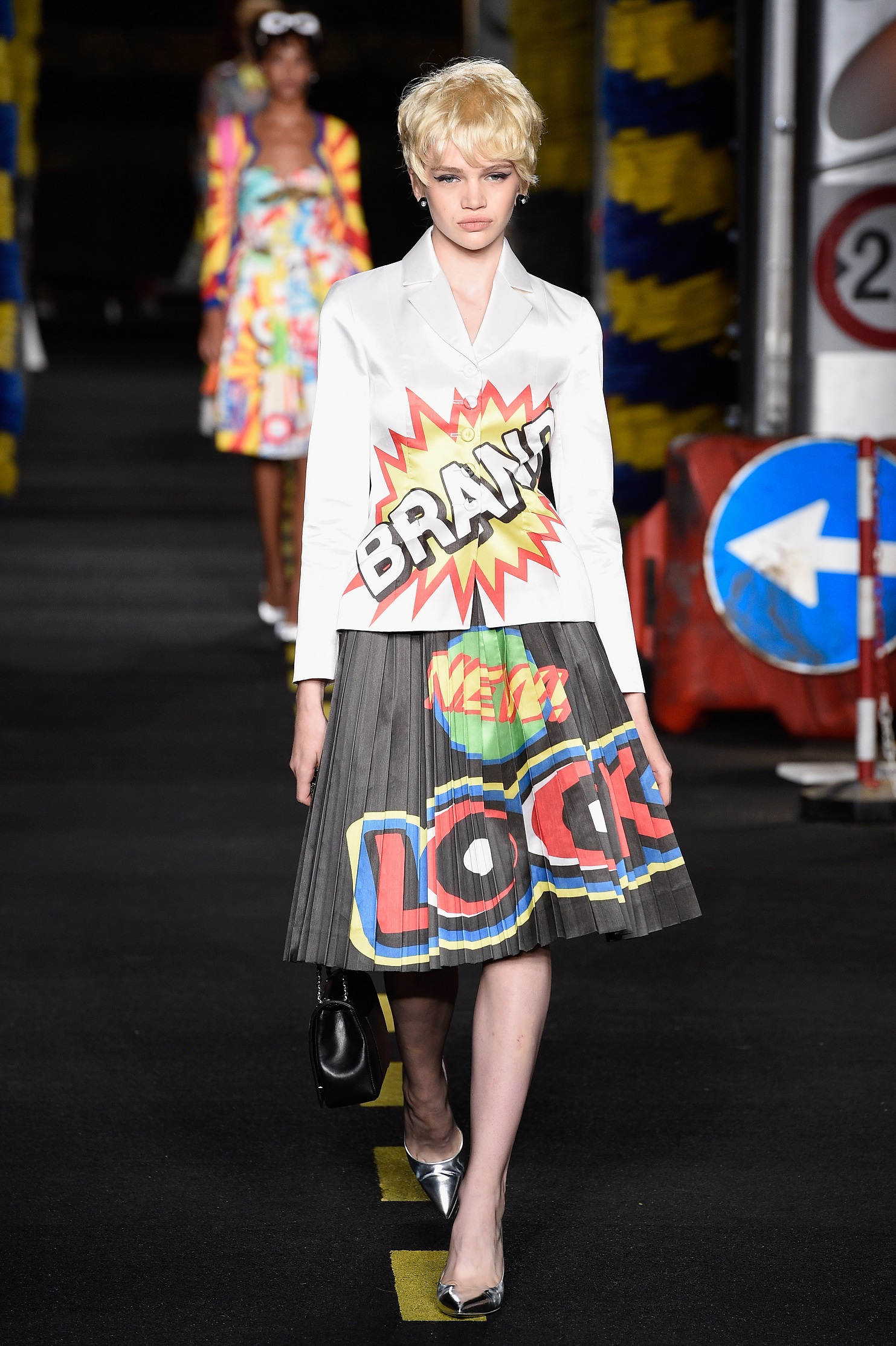 A model walks the runway during the Moschino fashion show as part of Milan Fashion Week Spring/Summer 2016 on September 24, 2015 in Milan, Italy.