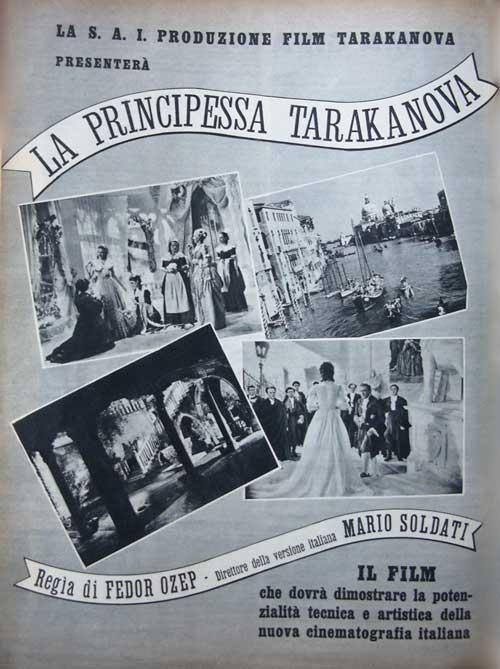 Mario Soldati anna magnani alberto sordi la principessa tarakanova film postr 1938