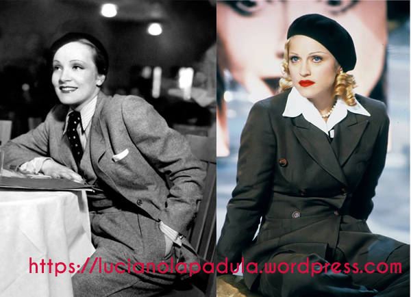 marlene dietrich and madonna in suit 1933 1993 rai baudo movie cinema flap hat suit trousers 30s 90s raiuno filippo crossdressing men look outfit fashion