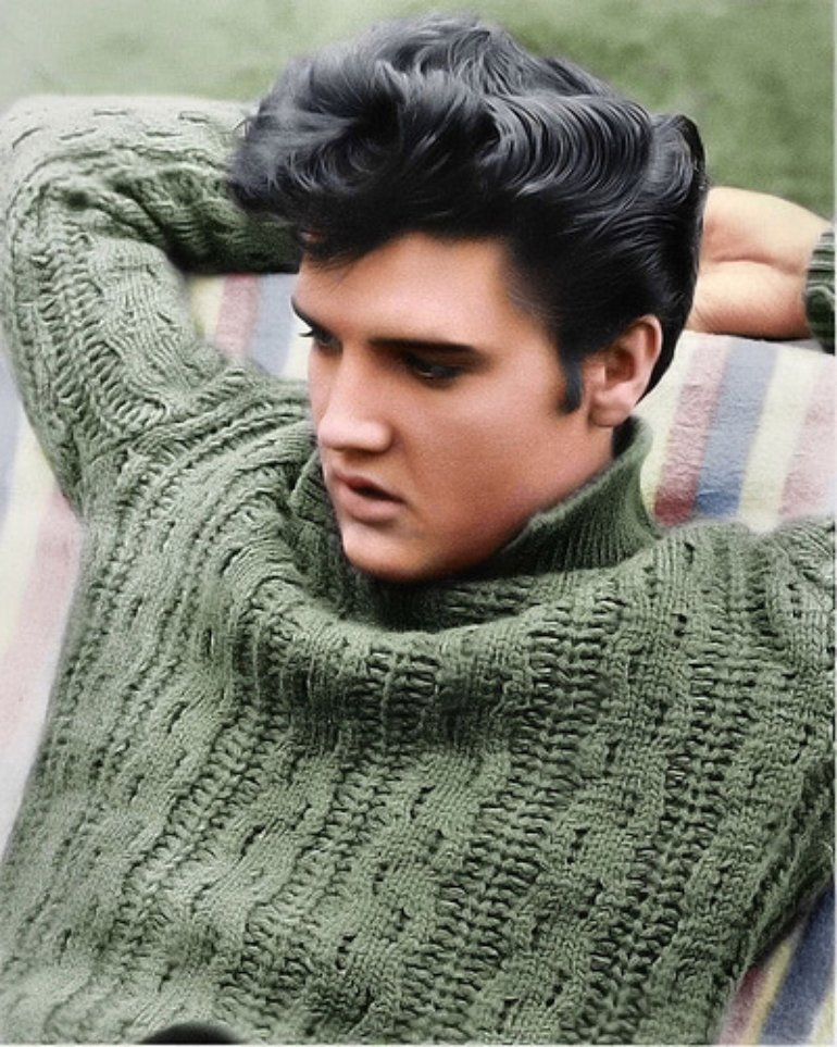 elvis presley hairtyle moda fashion green sweater blog