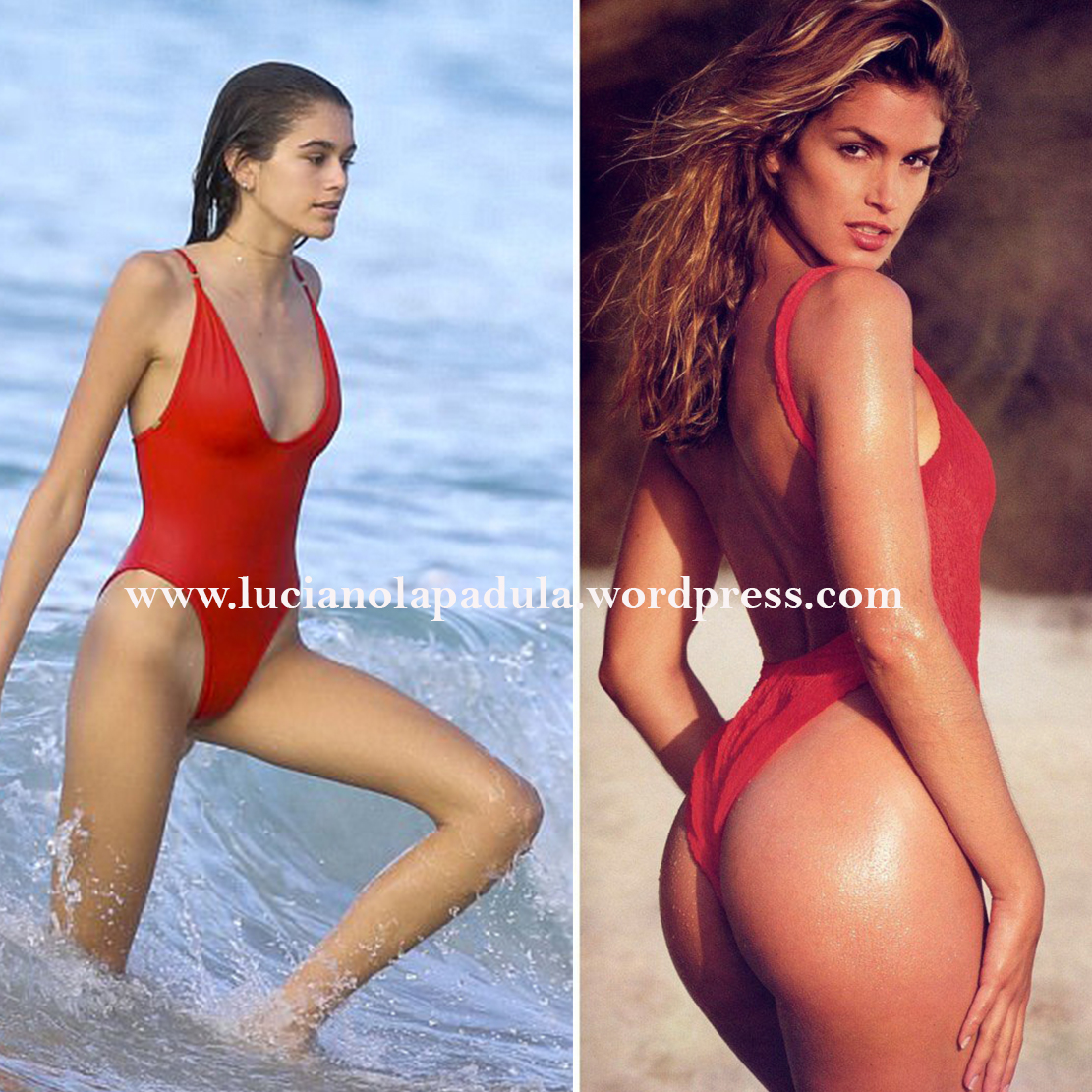 cindy crawford 90s daughter model kaia gerber comparison anorexic blog luciano lapadula blogger fashion expert history versace swimwear red