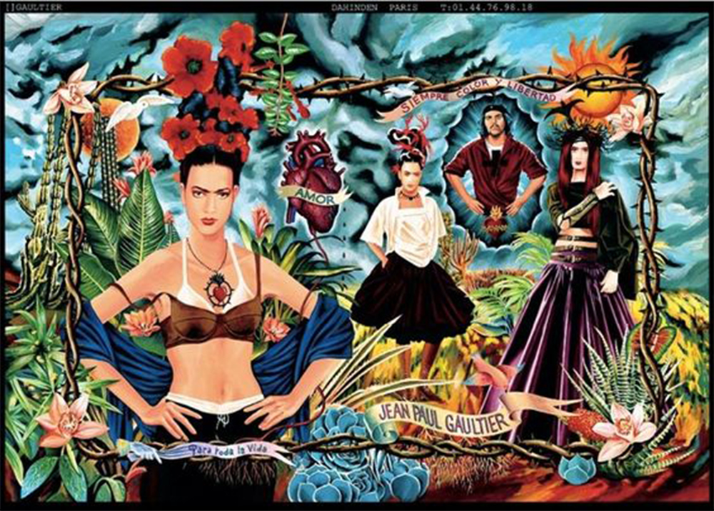 1998 spring 2018 vintage fashion cover design illustration history blog blogger luciano lapadula moda storia cultura magazine art jean paul gaultier tribute to frida kahlo