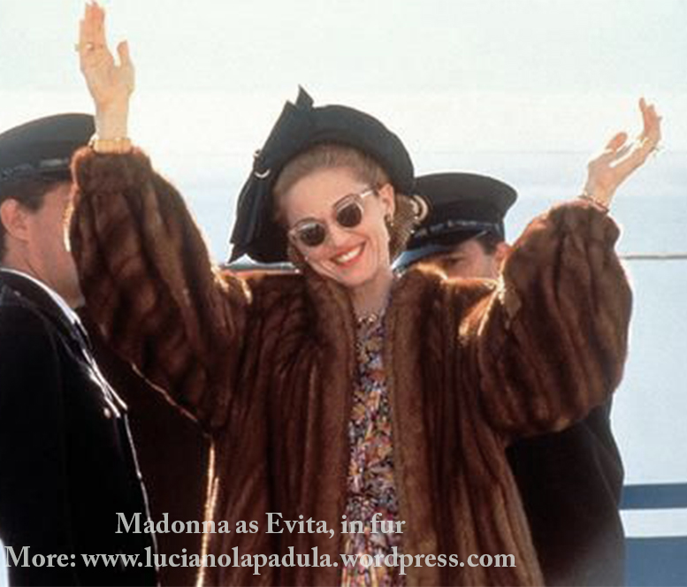 madonna as evita peron dresses same fashion dress fur fashion cinema movie history moda gown dior fendi pelliccia film