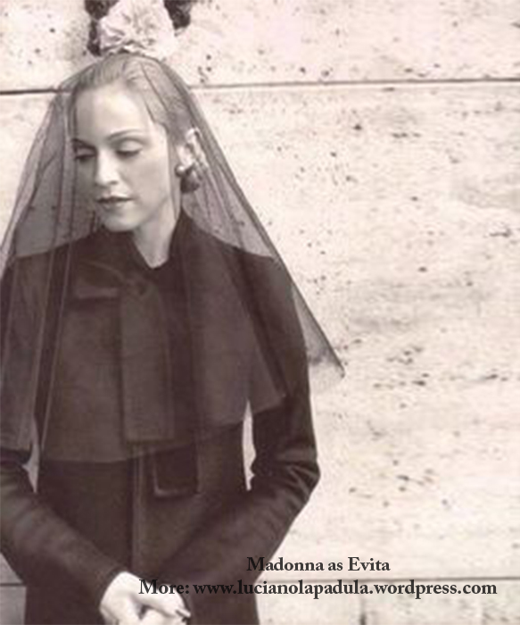 madonna as evita peron dresses same fashion dress fur fashion cinema movie history moda gown dior fendi pope veil hat mourning magazine lampoon