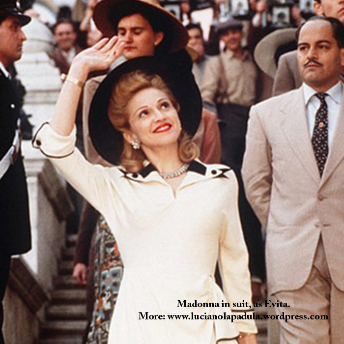 madonna as evita peron dresses same fashion dress fur fashion cinema movie history moda gown dior fendi white suit tailleur christian black and