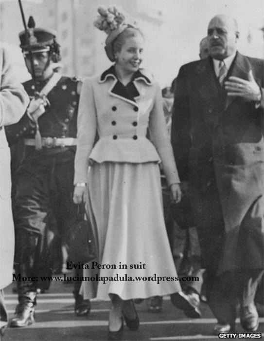 madonna as evita peron dresses same fashion dress fur fashion cinema movie history moda gown dior fendi white suit tailleur christian