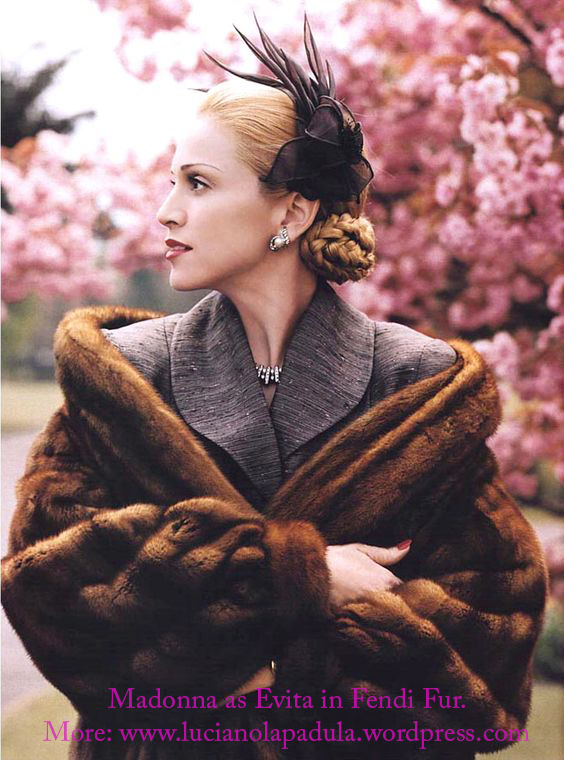 madonna as evita peron dresses same fashion dress fur fashion cinema movie history moda gown dior fendi