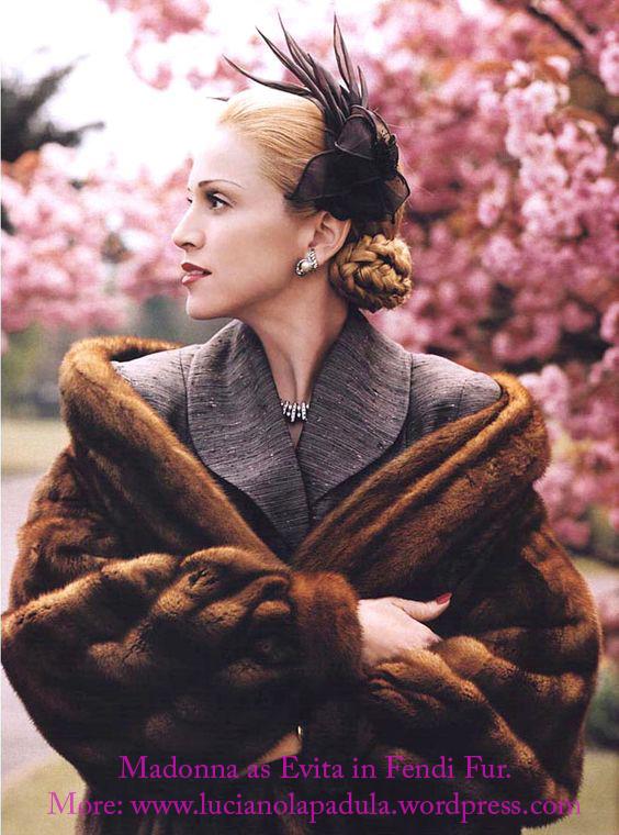 madonna as evita peron dresses same fashion dress fur fashion cinema movie history moda gown dior fendi