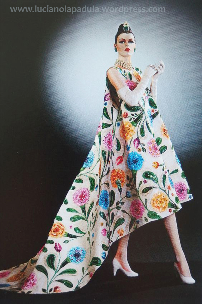 spring 1958 vintage fashion cover design illustration history blog blogger luciano lapadula moda storia cultura magazine art balenciaga flowers dress