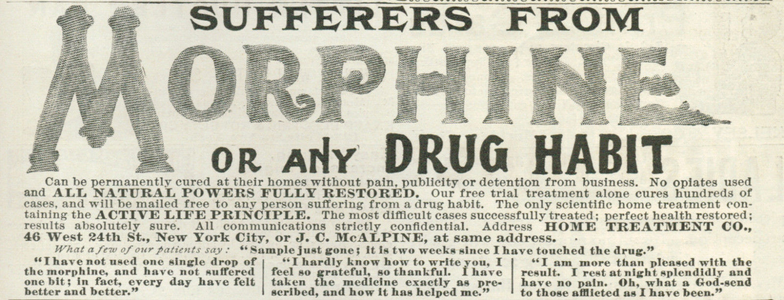 1899 Quack Medicine Sufferers From Morphine Or any Drug Habit Vintage Original Print Ad