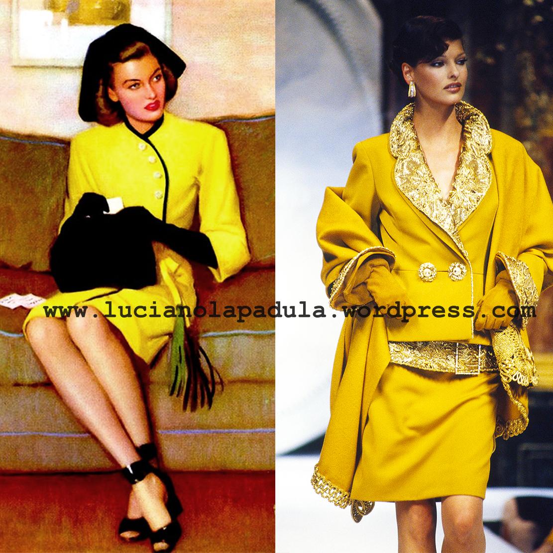 andrew loomis linda evangelista yellow suit art blog fashion museum storia luciano lapadula moda christian dior 1992 1993