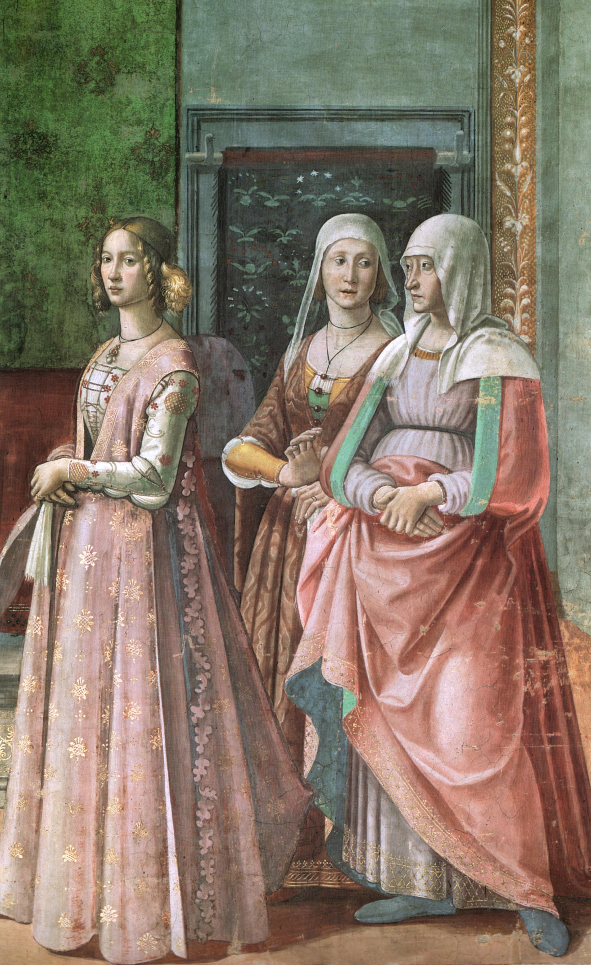 domenico ghirlandaio Cappella tornabuoni Nascita di san giovanni battista dettaglio
