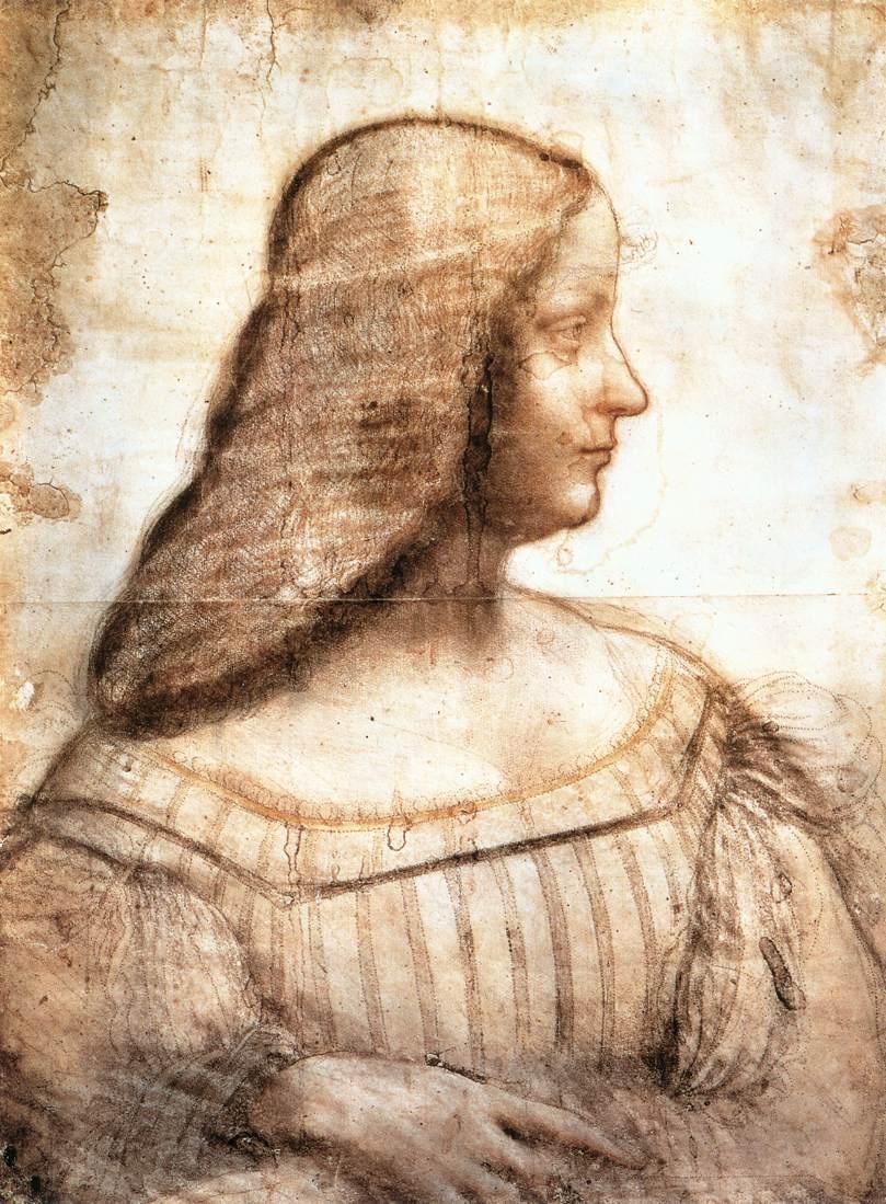 Leonardo Da Vinci cartone per il ritratto di Isabella d Este Museo del Louvre Parigi