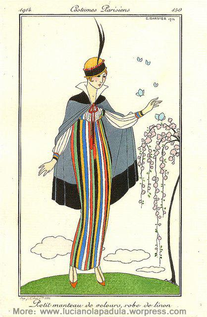 llustration de mode française Georges Barbier petit manteau de velours dans costumes parisiens 1914 stripes