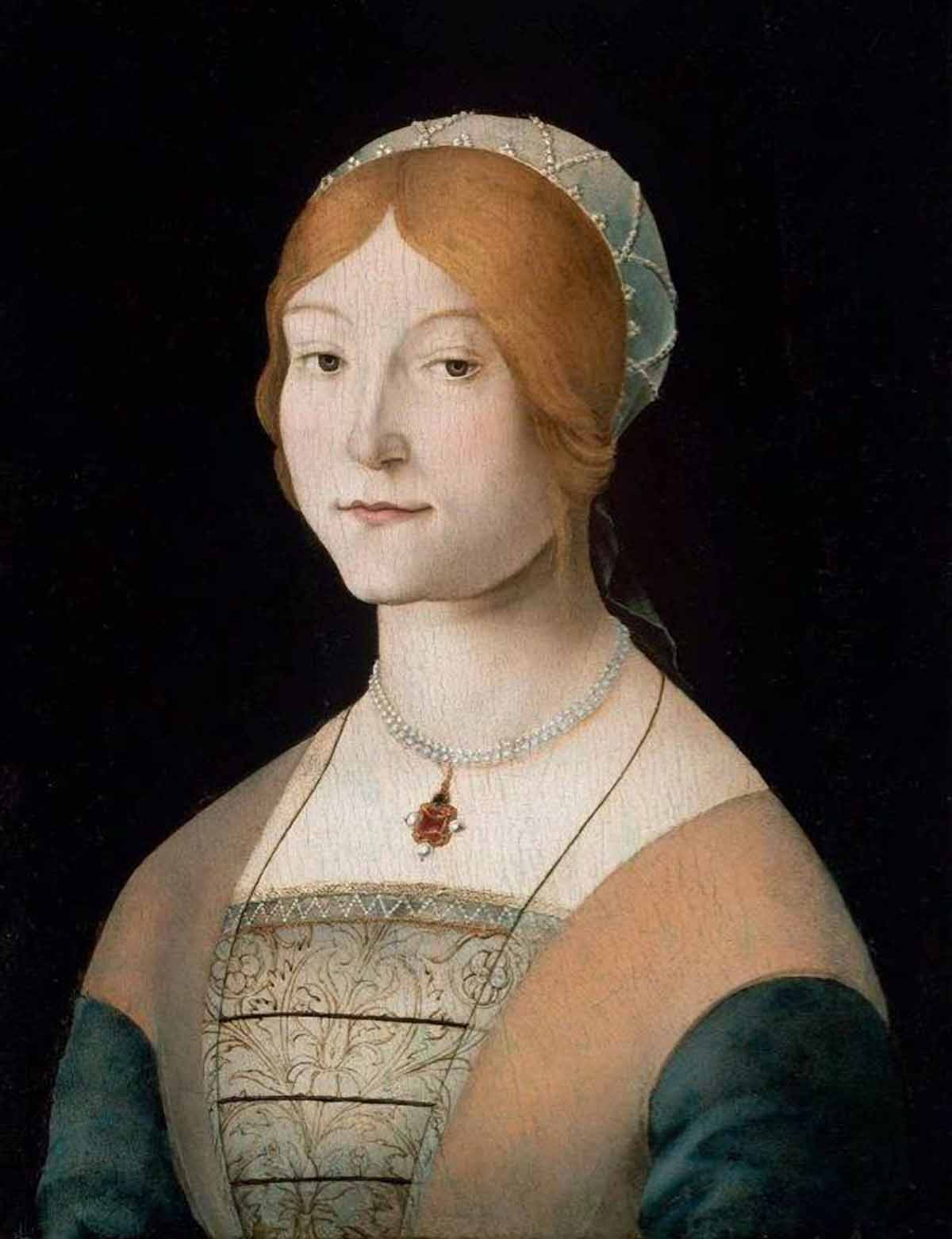 Lorenzo Costa Portrait of A Woman with Pearl Necklace c1490