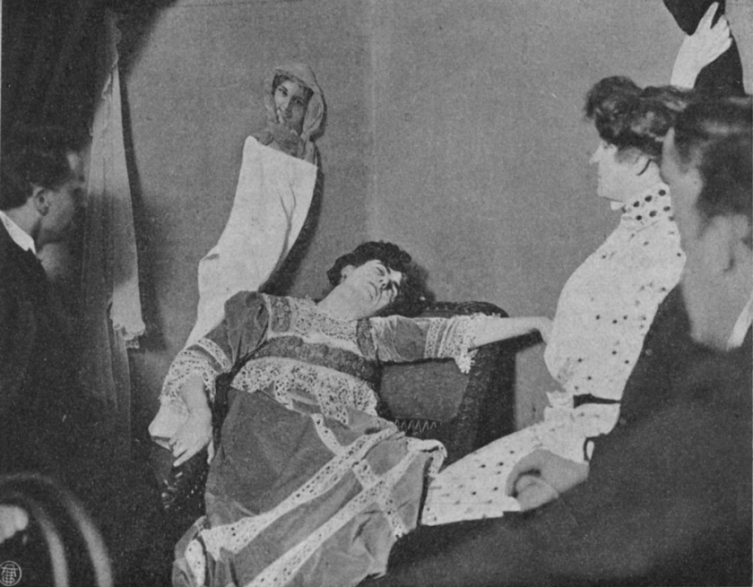 According to spiritualists, it was a substance that would be externalized by the bodily orifices of the medium during a séance.