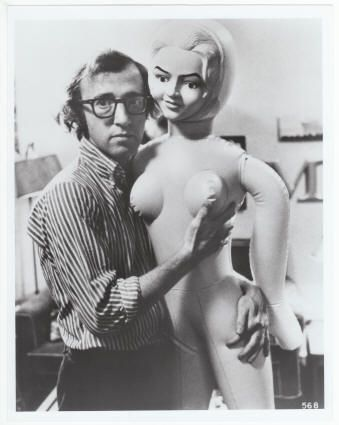 Woody with a blow up doll 1972 ca