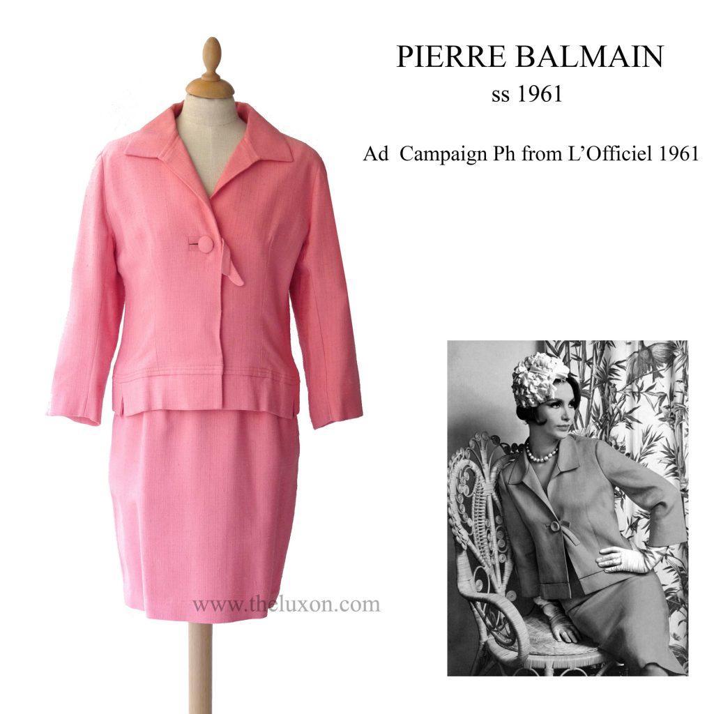 pierre balmain 1961 60s suit pink robe vintage fashion museum lerario lapadula l'officiel paris mode