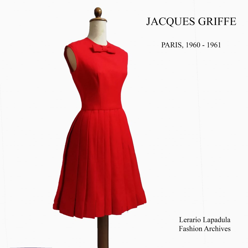 60s fashion dress jacques griffe red pleated full skirt robe paris museum vintage lerario lapadula archives history mode